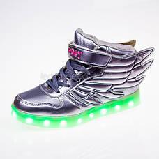 Led кроссовки серебро-лаковые с крыльями 101-5, фото 2