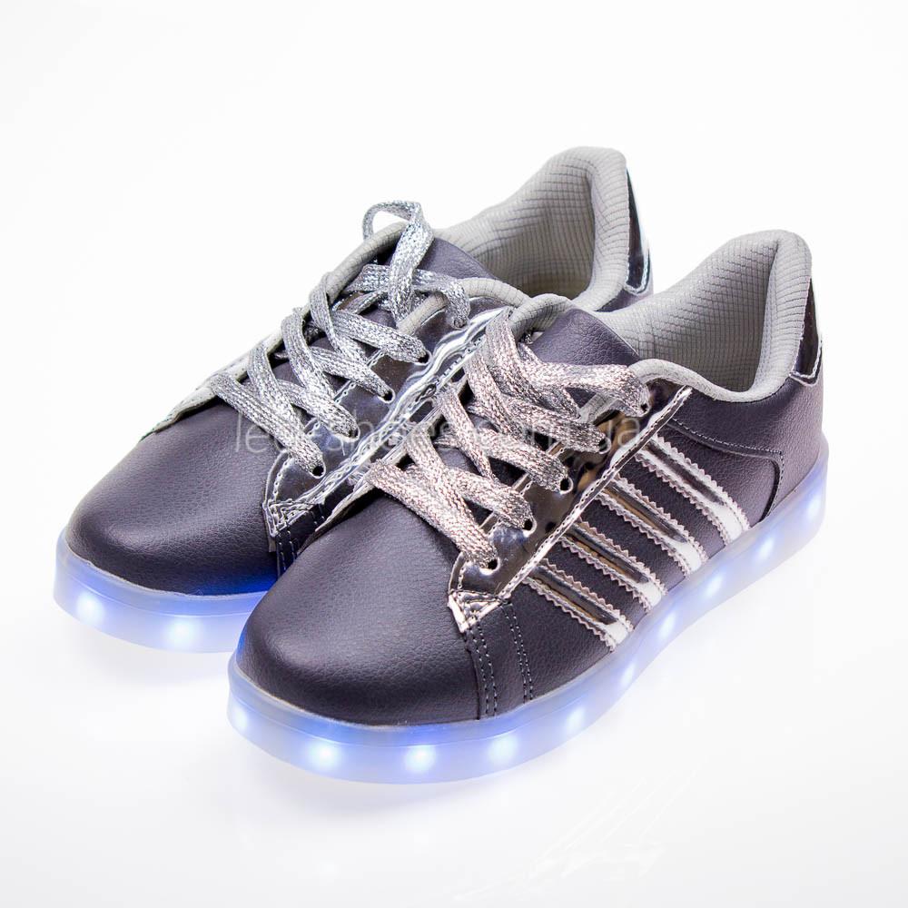 Led кроссовки Superstar серые сребрянные полоски 102-4