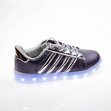 Led кроссовки Superstar серые сребрянные полоски 102-4, фото 2