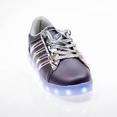 Led кроссовки Superstar серые сребрянные полоски 102-4, фото 3