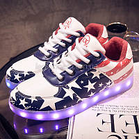 LEd кроссовки Американский флаг на шнурках 5103