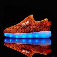 Светящиеся LED кроссовки Yeezy на липучке оранжевые 5101-19