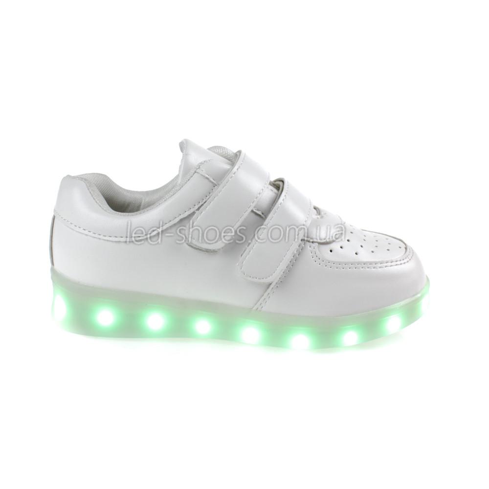 LEd кроссовки белые классика на липучках 5105-1