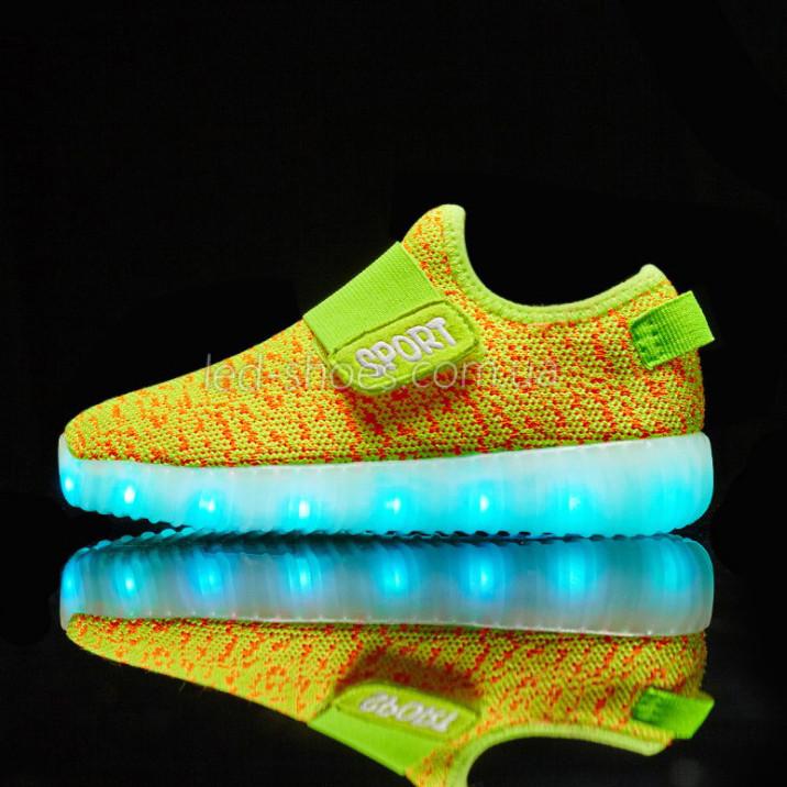 Светящиеся LED кроссовки Yeezy на липучке желтые 5101-16