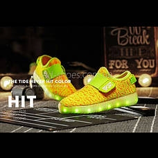 Светящиеся LED кроссовки Yeezy на липучке желтые 5101-16, фото 3