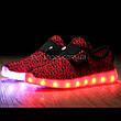 Светящиеся LED кроссовки Yeezy на липучке красные 5101-7, фото 3