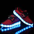 Светящиеся LED кроссовки Yeezy на липучке красные 5101-7, фото 4