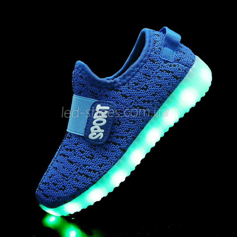 Светящиеся LED кроссовки Yeezy на липучке синие 5101-9