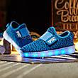 Светящиеся LED кроссовки Yeezy на липучке синие 5101-9, фото 2