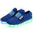 Светящиеся LED кроссовки Yeezy на липучке синие 5101-9, фото 4