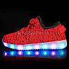 Светящиеся LED кроссовки Yeezy на шнурках красные 5102-7