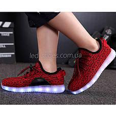 Светящиеся LED кроссовки Yeezy на шнурках красные 5102-7, фото 3