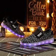 Светящиеся LED кроссовки Yeezy на липучке черные 5101-2, фото 2