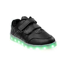 LEd кросівки чорні класика на липучках з візерунком 5111-2, фото 3