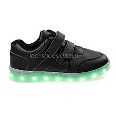LEd кросівки чорні класика на липучках з візерунком 5111-2, фото 2