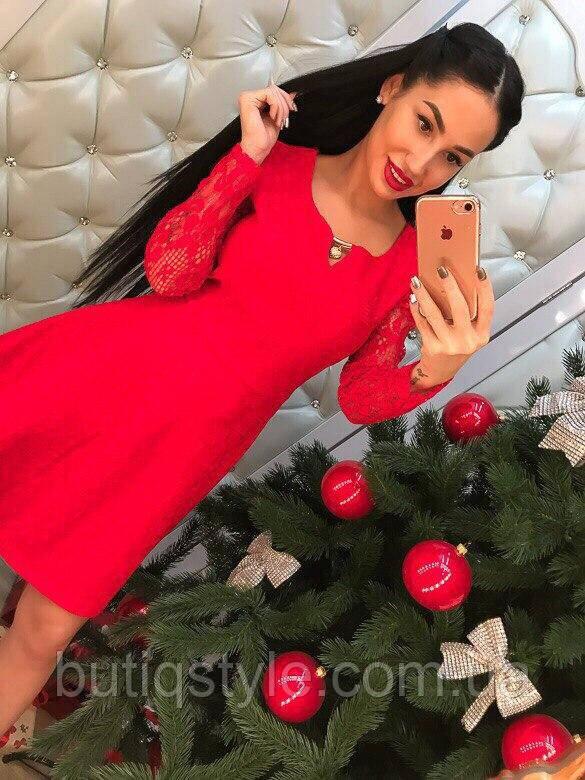 Красивое кружевное платье жаккард длинный рукав красное