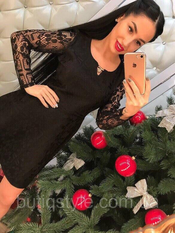 Красивое кружевное платье жаккард только черное