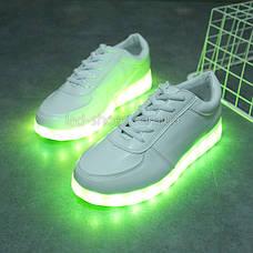 Светящиеся LEd кроссовки белые классические на шнурках 5106-1, фото 3