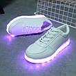 Светящиеся LEd кроссовки белые классические на шнурках 5106-1, фото 4