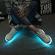 Светящиеся LEd кроссовки белые классические на шнурках 5106-1, фото 5