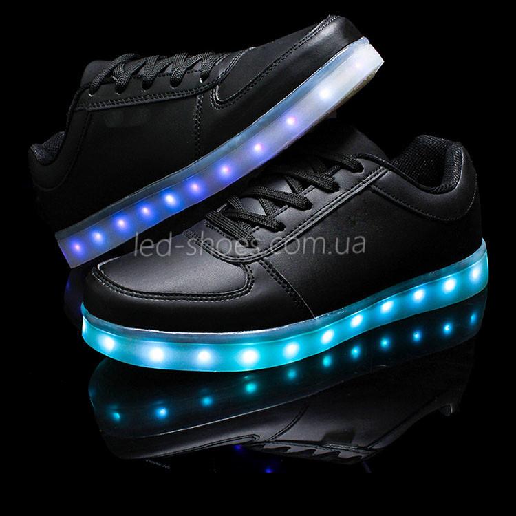 LEd кроссовки черные классические на шнурках 5106-2