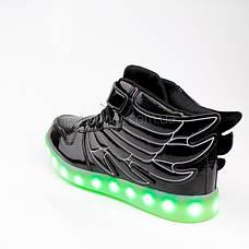 Led кроссовки черные-лаковые с крыльями 1011-2, фото 3