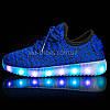 Светящиеся LED кроссовки Yeezy на шнурках синие 5102-9