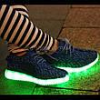 Светящиеся LED кроссовки Yeezy на шнурках синие 5102-9, фото 2
