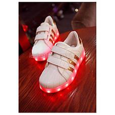 Светящиеся кроссовки LED Superstar на липучках бело-золотые 5108-4, фото 2