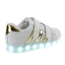 Светящиеся кроссовки LED Superstar на липучках бело-золотые 5108-4, фото 3