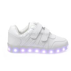 LEd кроссовки белые классика на липучках с узором 5111-1, фото 2