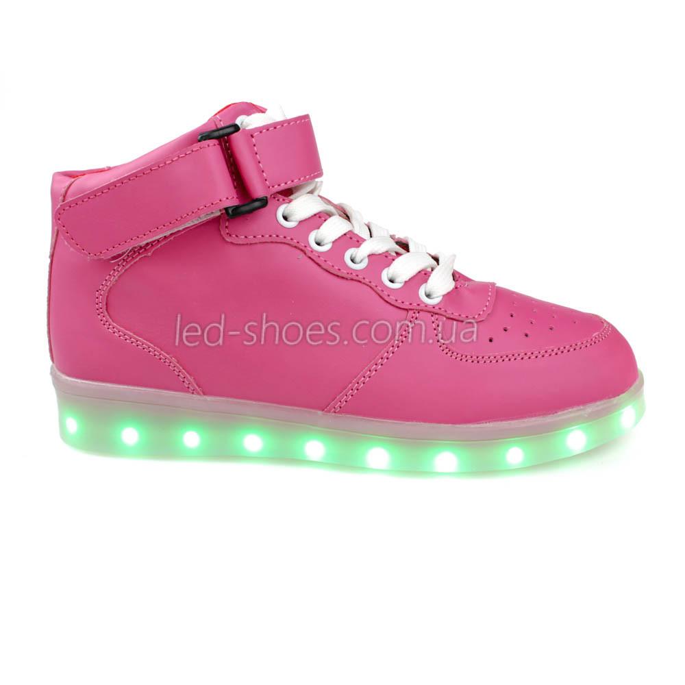 Светящиеся кроссовки высокие розовые на шнурках 5116-03