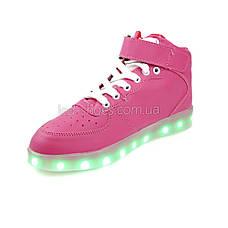 Светящиеся кроссовки высокие розовые на шнурках 5116-03, фото 2