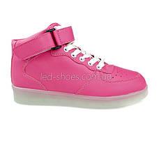 Светящиеся кроссовки высокие розовые на шнурках 5116-03, фото 3