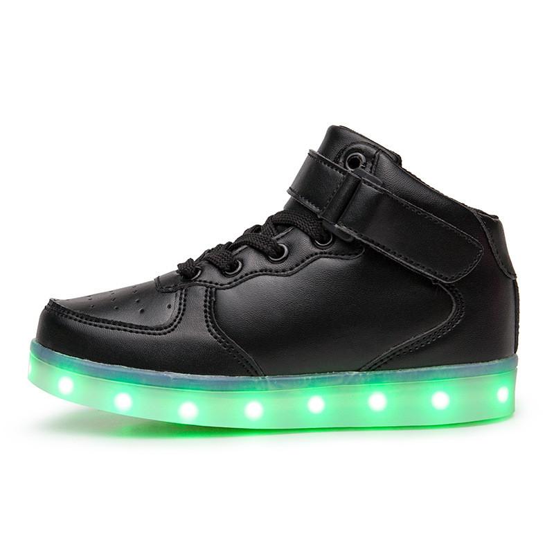 Светящиеся кроссовки высокие черные на шнурках 5116-02