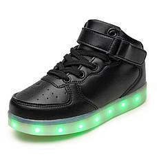 Светящиеся кроссовки высокие черные на шнурках 5116-02, фото 2