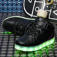Светящиеся кроссовки высокие черные на шнурках 5116-02, фото 3
