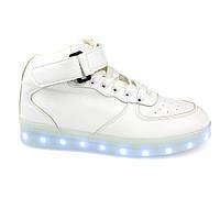 Светящиеся кроссовки высокие белые на шнурках 5116-01