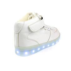 Светящиеся кроссовки высокие белые на шнурках 5116-01, фото 3
