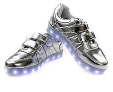LEd кроссовки серебро классика на липучках с узором 5111-5, фото 3
