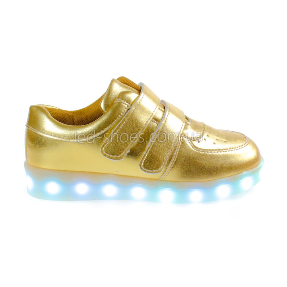 LEd кроссовки золотые классика на липучках 5109-4