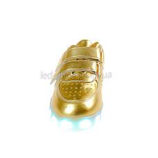 LEd кроссовки золотые классика на липучках 5109-4, фото 3