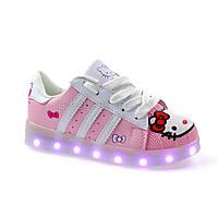 LEd кроссовки для девочки Hello Kitty с USB зарядкой 5112