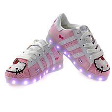 LEd кроссовки для девочки Hello Kitty с USB зарядкой 5112, фото 3