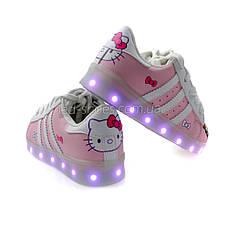LEd кроссовки для девочки Hello Kitty с USB зарядкой 5112, фото 2