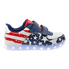 LEd кроссовки Американский флаг синие липучки без надписей 5304, фото 2