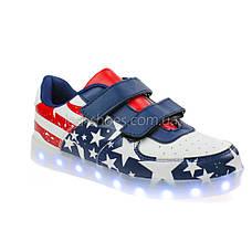 LEd кроссовки Американский флаг синие липучки без надписей 5304, фото 3