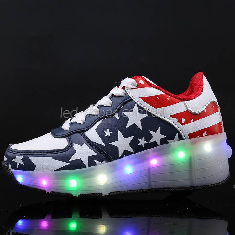 Кроссовки на роликах светящиеся Американский Флаг 5401