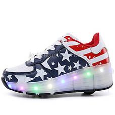 Кроссовки на роликах светящиеся Американский Флаг 5401, фото 2