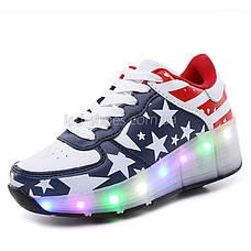 Кроссовки на роликах светящиеся Американский Флаг 5401, фото 3